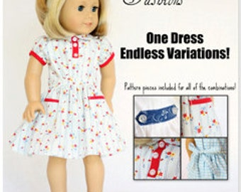 Pixie Faire Heritage Vintage 30s Dress Doll Clothes Pattern for 18 inch American Girl Dolls - PDF
