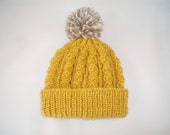 Retro mustard yellow hand knitted aran beanie bobble hat - range of sizes available from 0-24 months - bonnetsandbooties