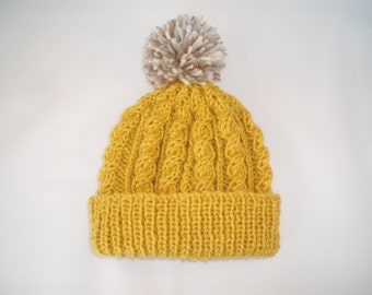 Retro mustard yellow hand knitted aran beanie bobble hat - range of sizes available from 2 years to teenage