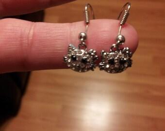 Kitty Rhinestone Dangle Earrings