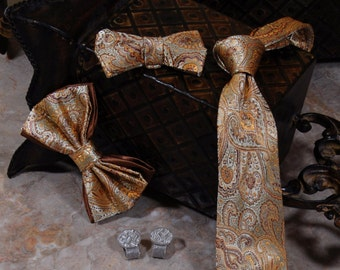 Sage Gold Paisley Bow Tie