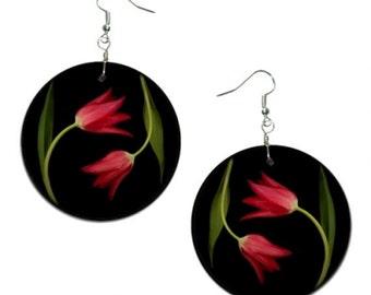 Red Tulips - handmade earrings - decoupage