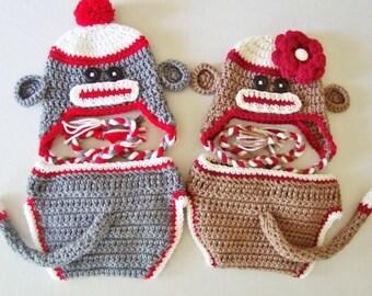 Baby Sock Monkey Laplander Hat & Diaper Cover Set - 0 to 3 Months, 3 to 6 Months, 6 to 12 Months - Jungle, Zoo, Animal