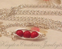 Silver Wire Wrapped Peapod Necklace, Red Coral