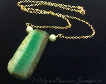 Large Green Natural Agate Druzy Slice Necklace, Gold