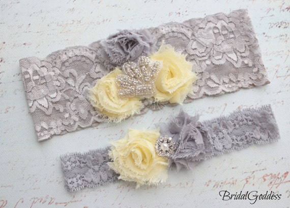 Yellow and Gray Wedding Garter Set - Toss Garter - Bridal Garter -Wedding - Bride -