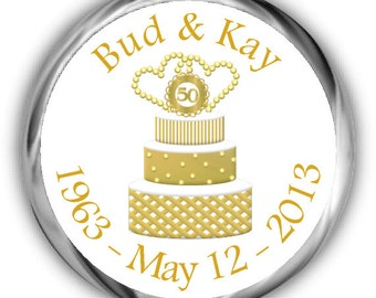 Gold Cake 50th Anniversary Hershey Kisses Stickers - Anniversary Sticker
