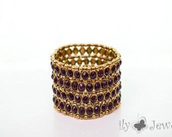 Wide Stretch Bracelet with Epoxy Purple Stone