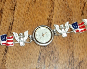 Vintage Silver-toned Patriotic Red, White & Blue Charm Bracelet Watch