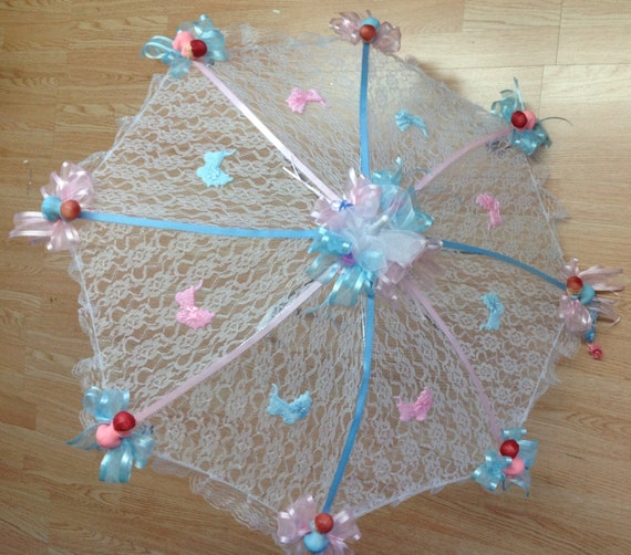 32 white lace baby shower umbrella pink and blue ribbons and babies
