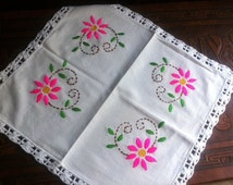 Embroidered flower Design on Quality Cotton with Crochet.