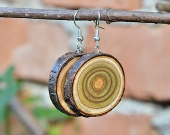 Wooden earrings- every day, simple, unique eco friendly accessory