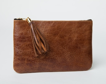 Leather Clutch,Purse,Wallet,Pouch,Chestnut