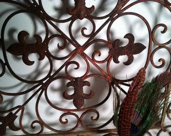 Ornate IRON Filigree GRATE with French Fleur De Lis Detail GARDEN Decor Wall Hanger