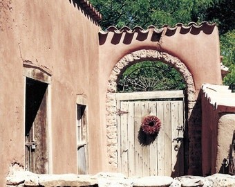 Door Photography, Canyon Road Ristra Gate, Santa Fe, New Mexico, Wall Decor, Santa Fe Style, Adobe, Rustic, Wood, Tereccota