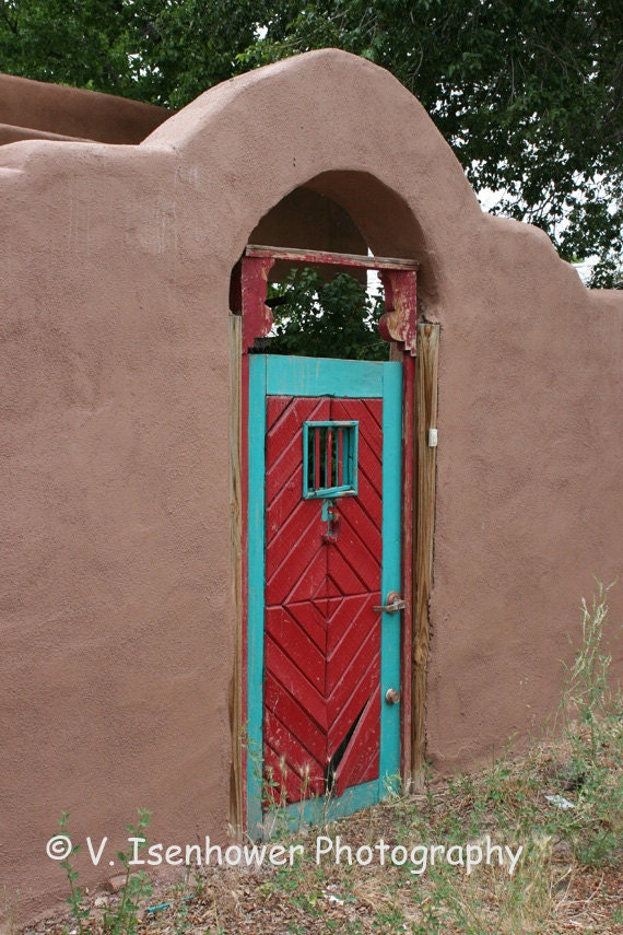 Door photography red turquoise northern new mexico