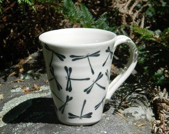Mug with hand painted dragonflies
