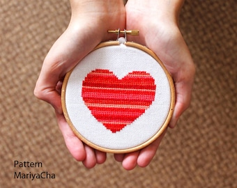 Little red Heart cross stitch pattern needlepoint for Valentines Day