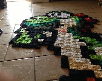 Large Yoshi Crochet 8-Bit Blanket