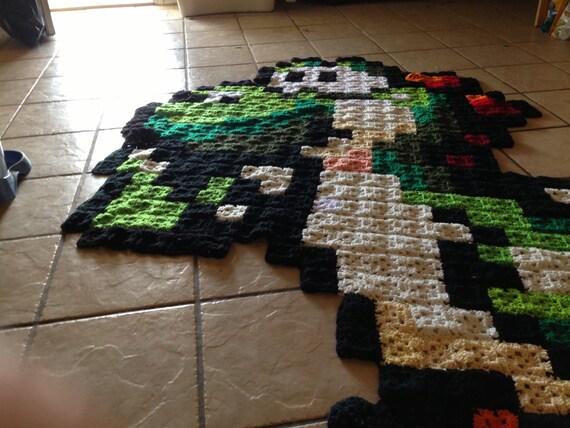 Free Yoshi Egg Crochet Pattern : Large Yoshi Crochet 8-Bit Blanket
