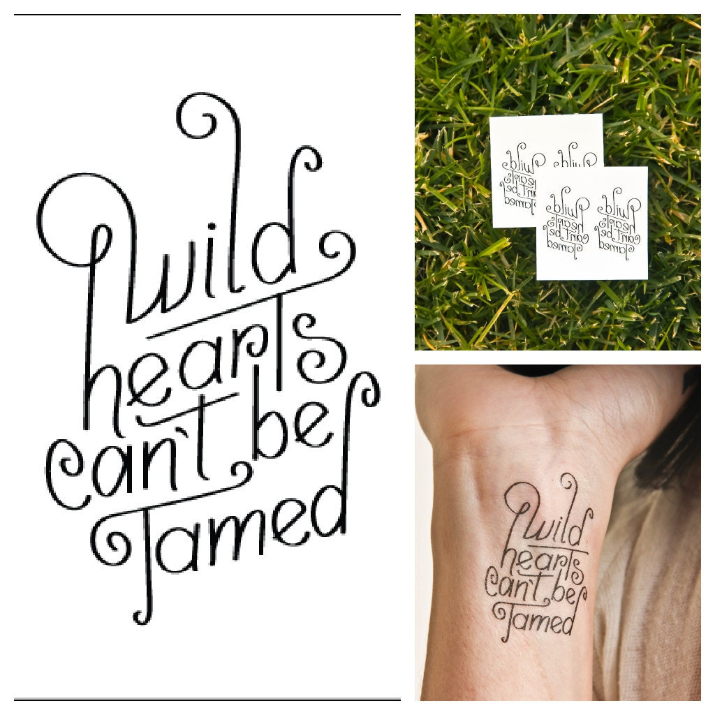 Wild hearts temporary tattoo set of 2 for Where can i get a temporary tattoo