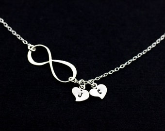 Infinity Necklace . Personalized Charm Necklace . Sterling Silver heart Initial Necklace . Custom Letters.His and Her Initials.Love.Couple.