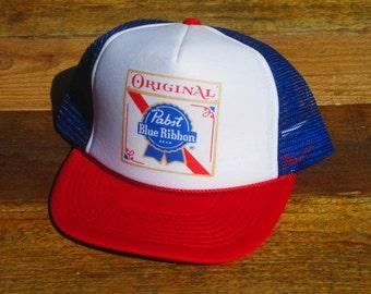 Vintage Pabst Blue Ribbon PBR Mesh Snapback Hat