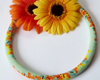 "Bead Crochet Necklace "" spring aura "" Beadwork Jewelry ,rope necklace ,collier"
