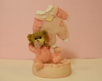 Baby Girl Cake Topper / Pink teddy bear shower topper / Girl baby theme topper / baby shower / cake topper