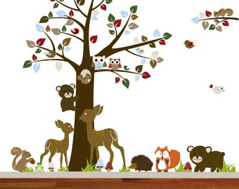 Store Closing Sale Nursery Vinyl Wall Decal Sticker Forest woodland animal,deer,fox,armadillo, squirrels with owls and birds