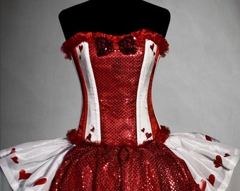 QUEEN OF HEARTS Costume  in white taffetà and red sequined fabric, made to order, steel boned corset, custom size