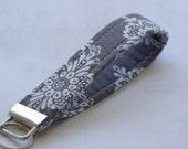 Grey Lace Wristlet Key Chain, Key Fob