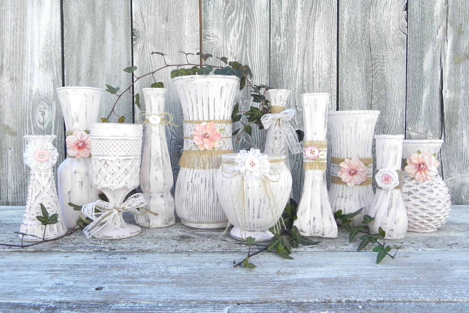 burlap and lace pink shabby chic vase collection by sofrickincute. Black Bedroom Furniture Sets. Home Design Ideas