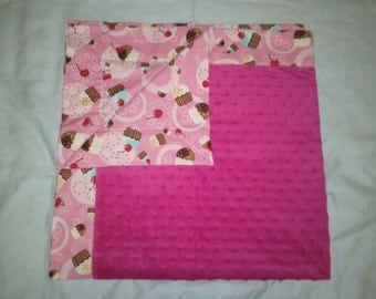 Pink Cupcake Minky Baby Blanket