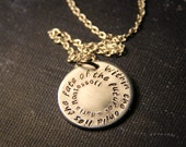 "Maria Montessori: ""Within the child lies the fate of the future"" hand stamped pendant"