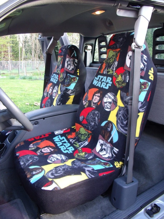 1 Set of Star Wars Cartoon Characters Print  Car Seat Covers and Steering Wheel Cover Custom Made.