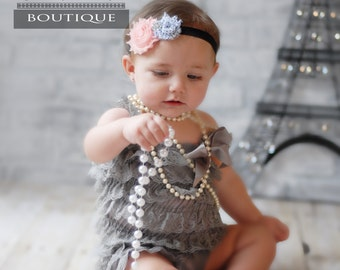 Gray Lace Rompers, Petti rompers, Lace Petti Rompers, Rompers for babies, photo prop baby outfit, baby lace outfits, ruffled baby rompers