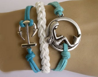 Items similar to Infinity Bracelet-Anchor Bracelet. Blue ...