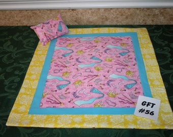 "Princess print, American Girl sized, reversible doll bed quilt 18"" x 20.5"" with matching pillow 4"" x 6"""
