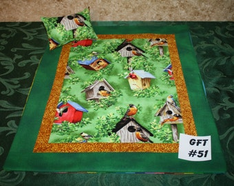 "Birdhouse print, American Girl sized, reversible doll bed quilt 17"" x 21"" with matching pillow 4"" x 6"""