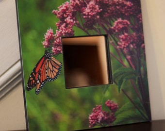 Decorative wall mirror. Monarch butterfly and flower square mirror 10 inches by 10 inches.