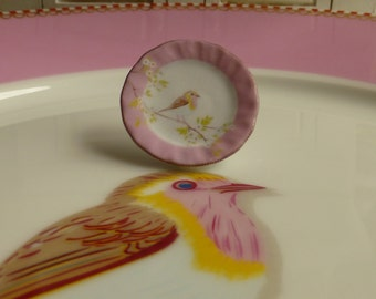 Pink Hummingbird Plate for Dollhouse in 1:12 Scale