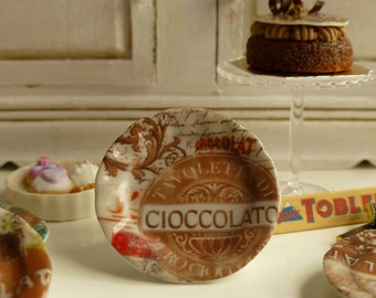 Chocolate- Cioccolato- Chocolat  Dollhouse Miniature Plate