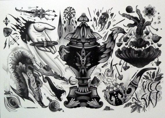 sale aaron ashworth tattoo flash art sheet 03