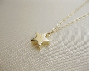 Star necklace, 14K gold filled, delicate and cute.