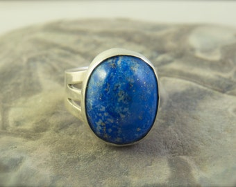 Blue Lapis Ring, blue stone ring, statement ring, lapis ring, blue ring, blue statement ring, lapis lazuli ring, Sterling Silver jewelry