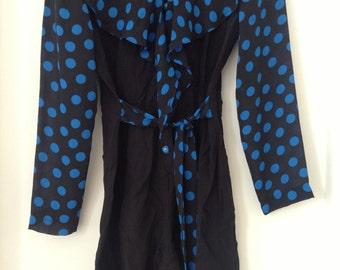 Vintage Black and Blue Long Sleeved Playsuit