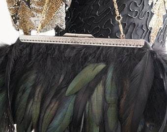 Clutch with natural feathers. Ivory Bridal Clutch - Feathers - Wedding Clutch - Weddings - Bridal Accessories