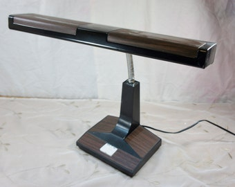 gooseneck desk lamp large with two tone woodgrain and black metal vintage office light