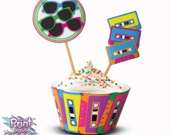 Print Your Fiesta editable digital party set - 80's Retro Cupcake Kit -  cupcake wrappers, toppers, cassette tape, boombox, neon lights